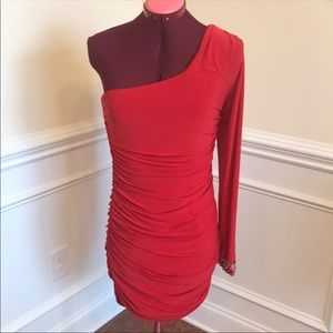 Sexy Red City Triangle One Shoulder Dress Sz L